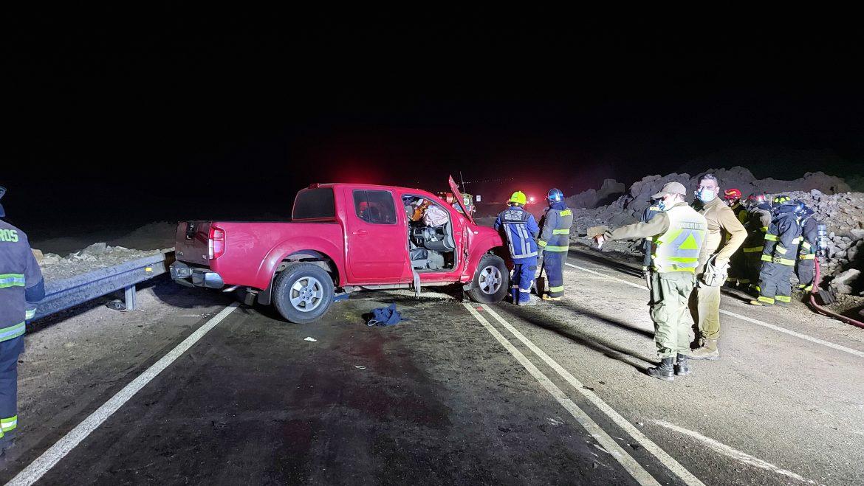 Accidente carretero deja dos heridos en ruta costera Tocopilla e Iquique.